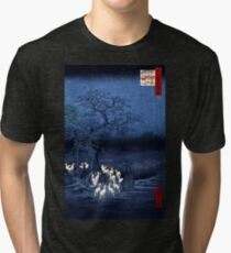 Hiroshige New Year's Eve Foxfires at the Changing Tree, Oji Tri-blend T-Shirt