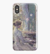 Childe Hassam - Improvisation American Impressionism Woman Portrait Fashion Musician Birthday iPhone Case/Skin
