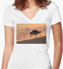 Sandpiper Silhouette Women's Fitted V-Neck T-Shirt