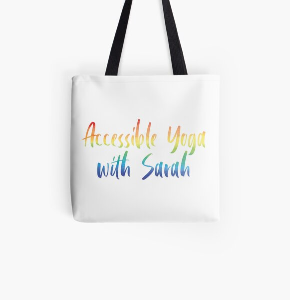 Accessible Yoga with Sarah Rainbow Text (White background) All Over Print Tote Bag