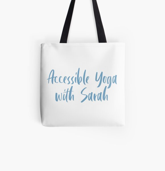 Accessible Yoga with Sarah Blue Text (White background) All Over Print Tote Bag