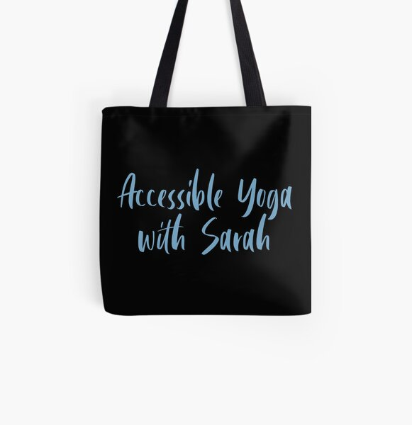 Accessible Yoga with Sarah Blue Text (Black background) All Over Print Tote Bag