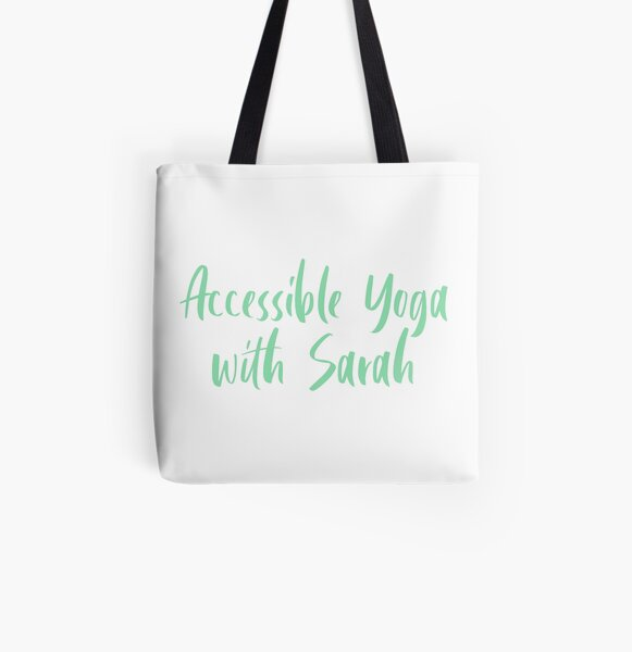 Accessible Yoga with Sarah Green Text (White background) All Over Print Tote Bag