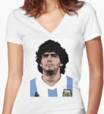 Maradona - best soccer player Women's Fitted V-Neck T-Shirt