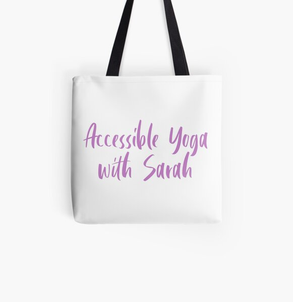 Accessible Yoga with Sarah Purple Text (White background) All Over Print Tote Bag