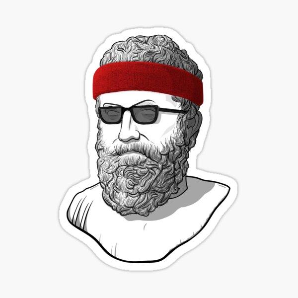 Philosopher Aristotle With Sunglasses and Headband Sticker