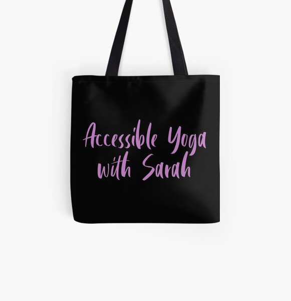 Accessible Yoga with Sarah Purple Text (Black background) All Over Print Tote Bag
