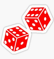 LUCKY, DOUBLE SIX, DICE, RED DICE, Throw the Dice, Casino, Game, Gamble, CRAPS, on BLACK Sticker