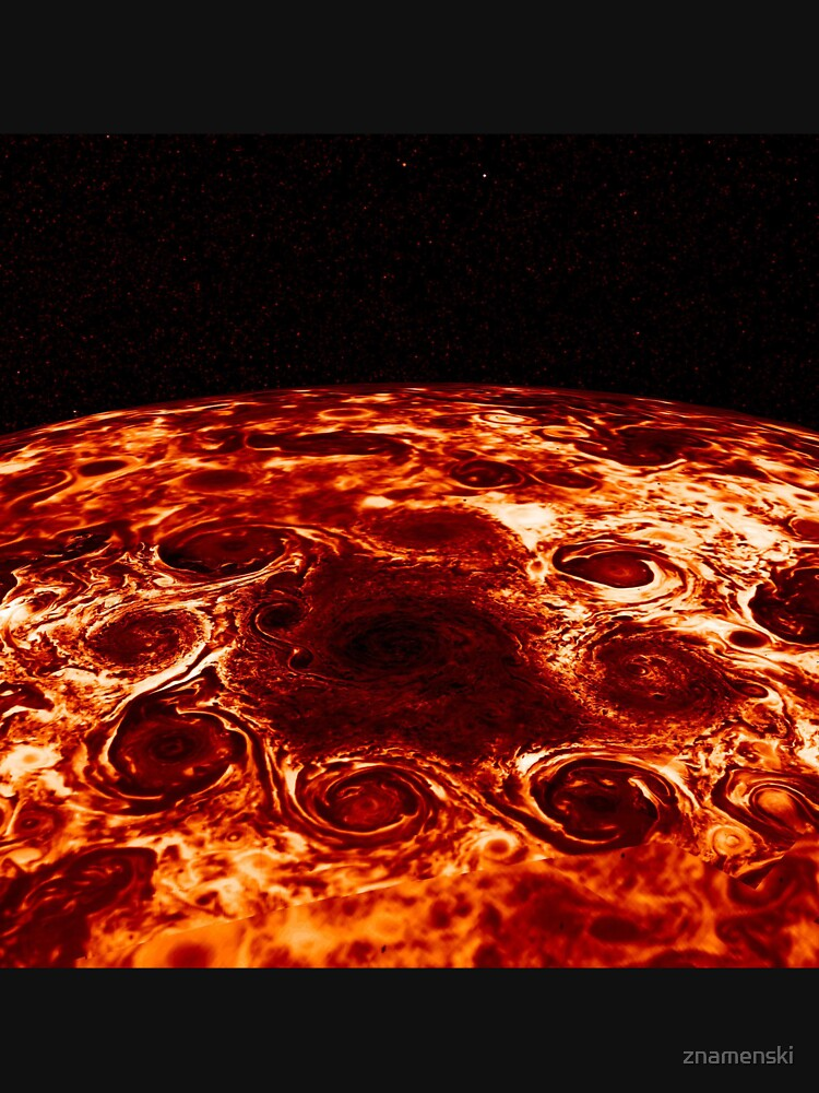 JIRAM imagery of Jupiter's north pole and its hypnotic, seemingly stable arrangement of eight cyclones around a central, large vortex by znamenski