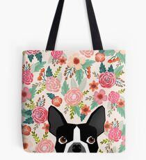 Boston Terrier florals pattern print flowers spring summer cute dog portrait art print dog breed gifts for dog person  Tote Bag