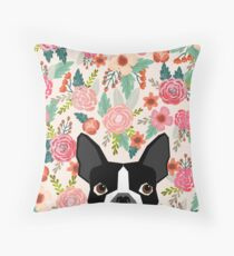 Boston Terrier florals pattern print flowers spring summer cute dog portrait art print dog breed gifts for dog person  Throw Pillow