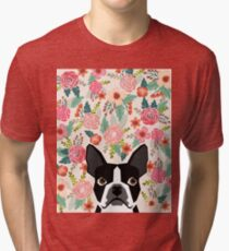Boston Terrier florals pattern print flowers spring summer cute dog portrait art print dog breed gifts for dog person  Tri-blend T-Shirt