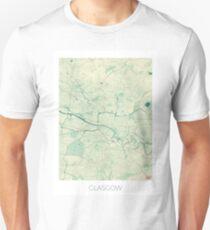 Glasgow Map Blue Vintage Unisex T-Shirt