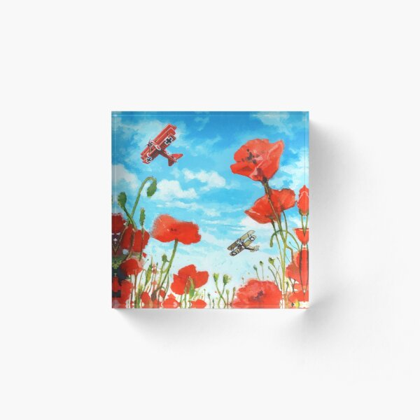 Waltzing Partners, Great War biplane dogfight above a field of poppies. Acrylic Block
