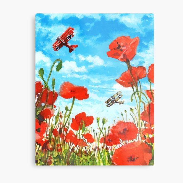 Waltzing Partners, Great War biplane dogfight above a field of poppies. Metal Print