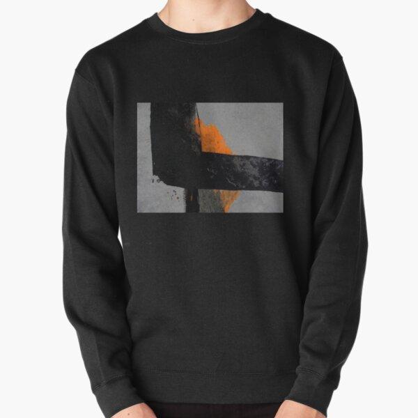 Minimal Orange on Black Pullover Sweatshirt