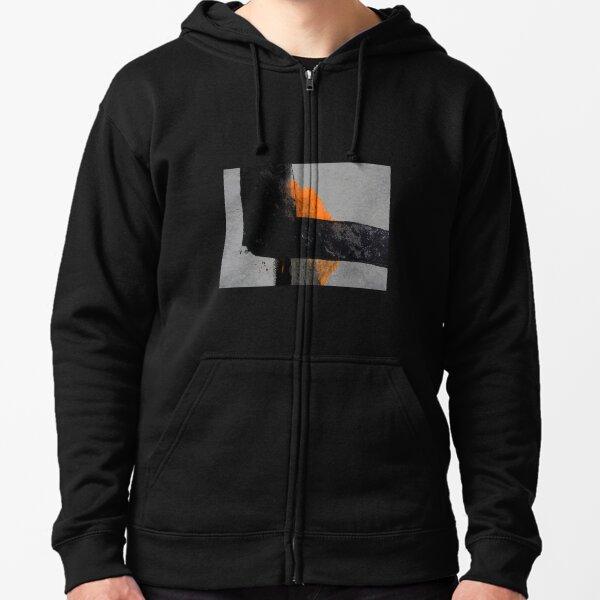 Minimal Orange on Black Zipped Hoodie