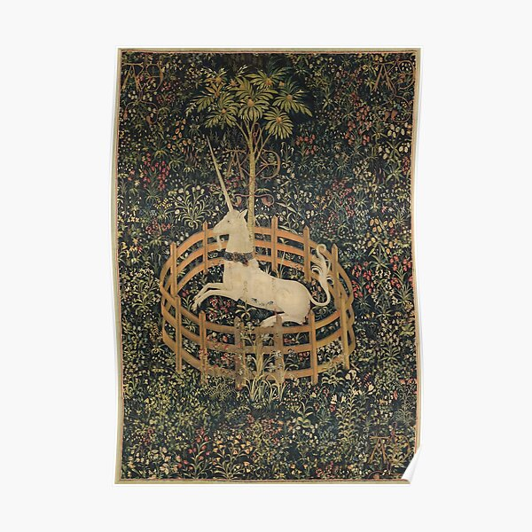 Medieval Unicorn In Captivity Floral Tapestry Poster