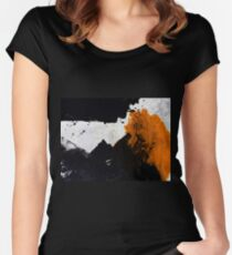 Minimal Orange on Black Women's Fitted Scoop T-Shirt