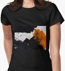 Minimal Orange on Black Womens Fitted T-Shirt