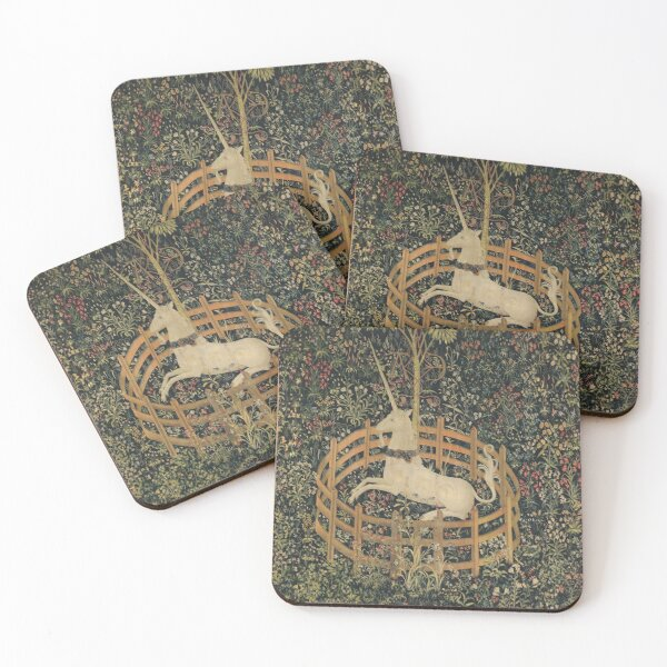 Medieval Unicorn In Captivity Floral Tapestry Coasters (Set of 4)