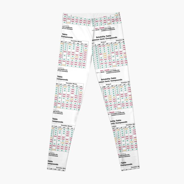 Solubility Table. Common Ionic Compounds. Solubility chart Leggings