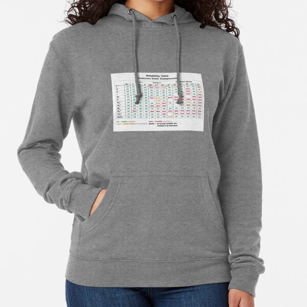 Solubility Table. Common Ionic Compounds. Solubility chart Lightweight Hoodie