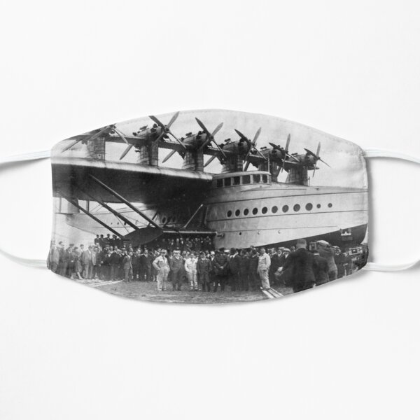 Flying boat. Ancient photography of ancient technique. Flat Mask