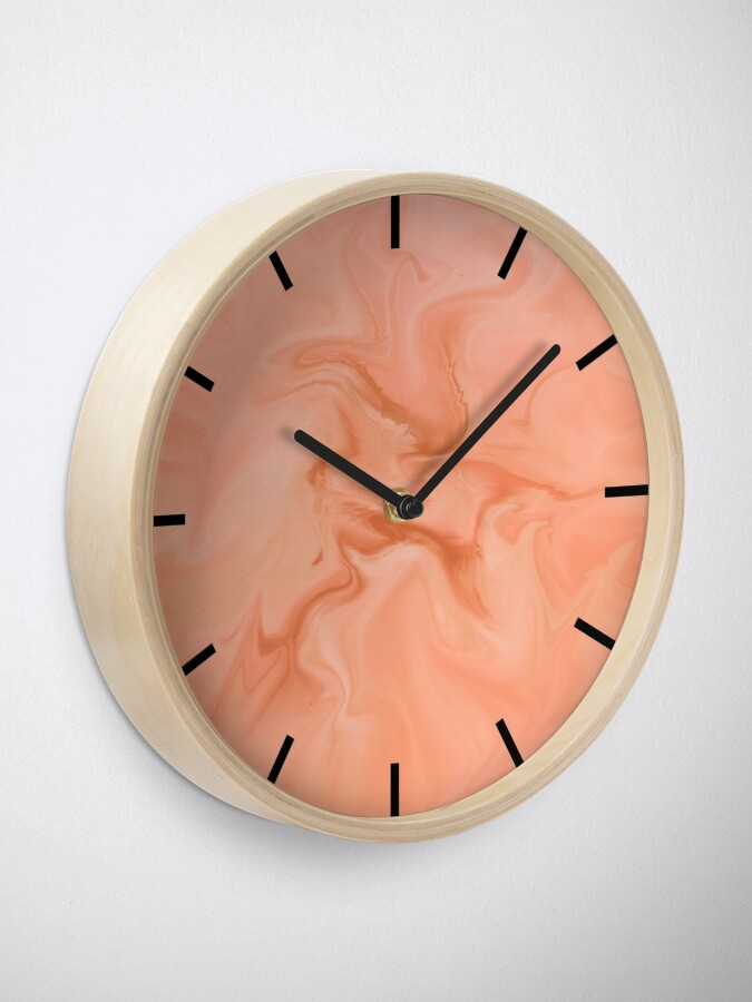 Alternate view of Abstract Orange Marble Clock