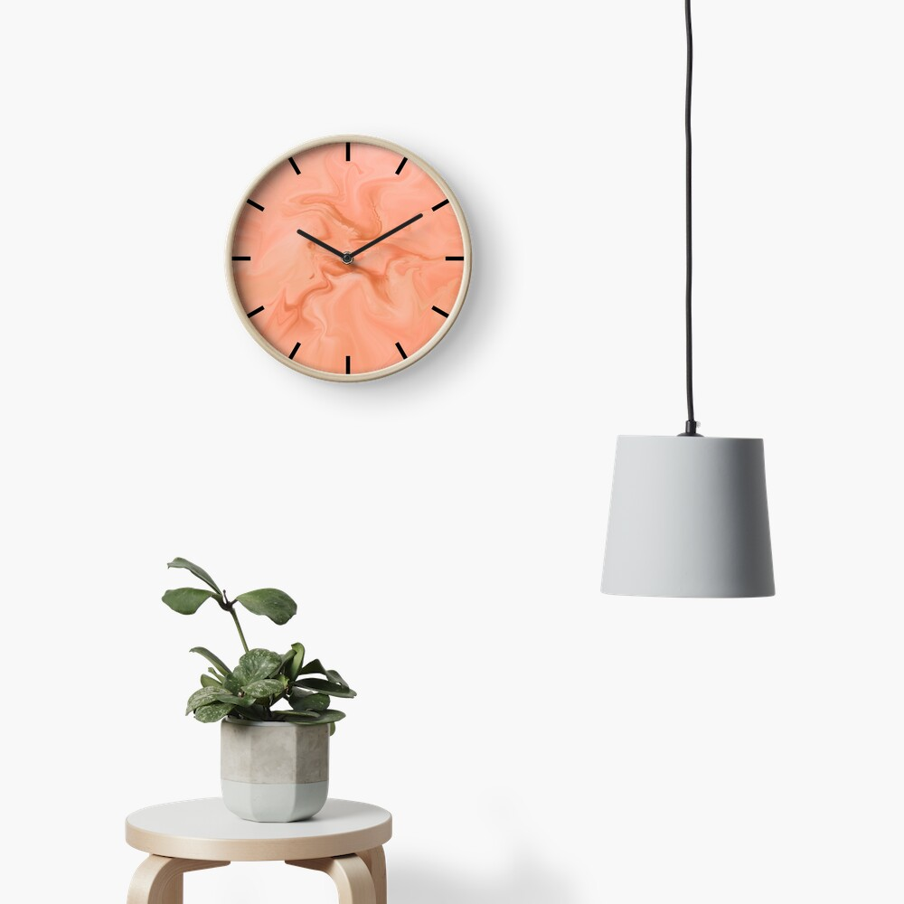 Abstract Orange Marble Clock