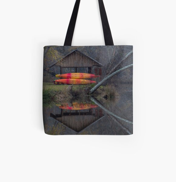 Watson Mill Boathouse All Over Print Tote Bag