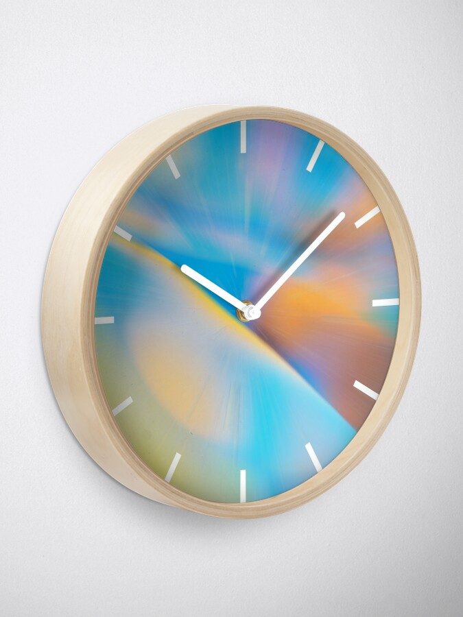 Alternate view of Abstract Zoom Blue & Yellow Clock