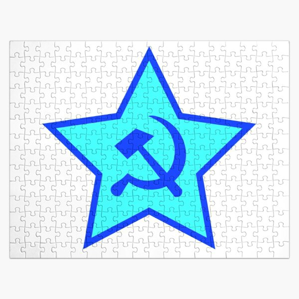 Blue Star, Hammer, and Sickle Jigsaw Puzzle
