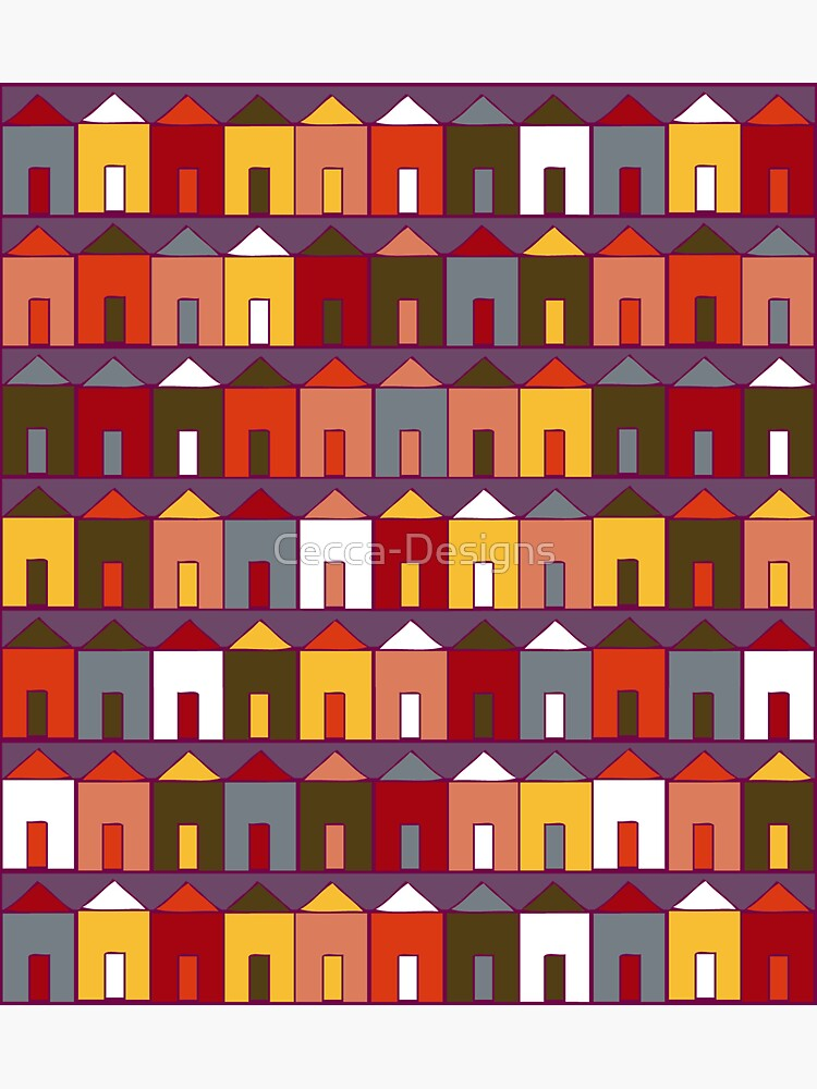 Beach Huts - Plum and Burgundy - Geometric pattern by Cecca Designs by Cecca-Designs