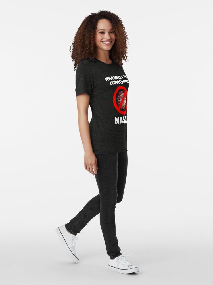 Alternate view of Defeat the Coronavirus Message Tri-blend T-Shirt