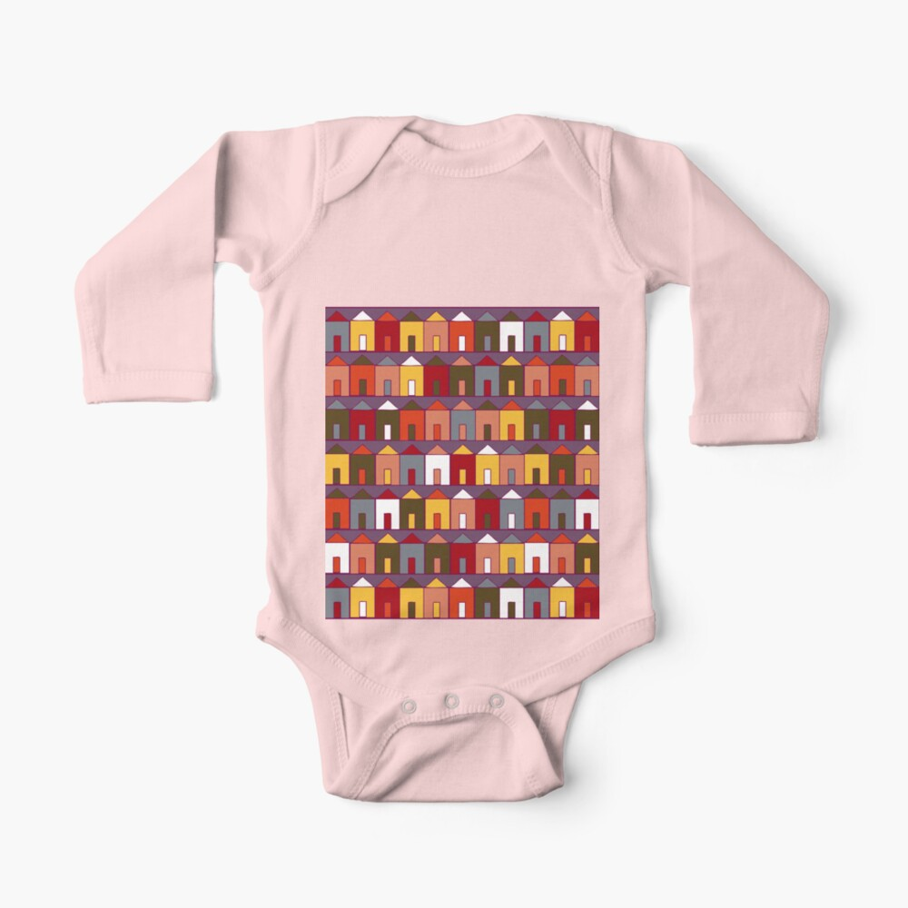 Beach Huts - Plum and Burgundy - Geometric pattern by Cecca Designs Baby One-Piece