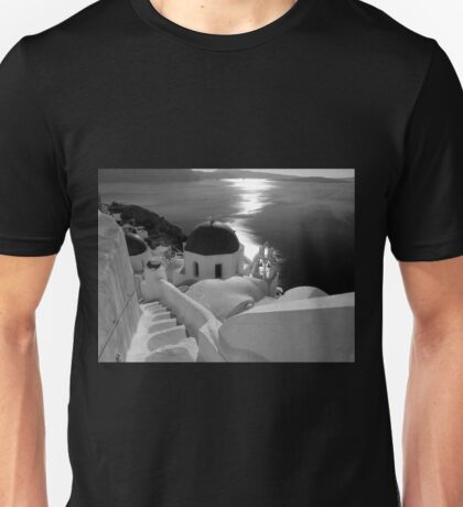 Stairway to Blue Domed Church ~ Black & White T-Shirt