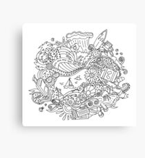 Doodle Summer Vacation Illustration Canvas Print