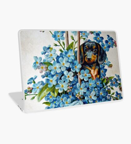 Dachshund and Forget-me-Nots Laptop Skin