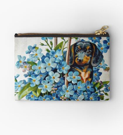 Dachshund and Forget-me-Nots Studio Pouch