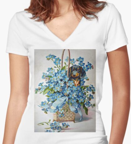 Dachshund and Forget-me-Nots Women's Fitted V-Neck T-Shirt