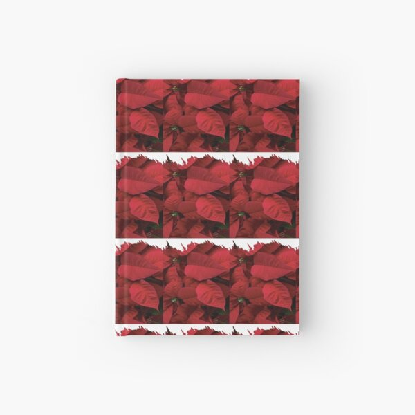 Romantic Red Poinsettia design with a white trim  Hardcover Journal