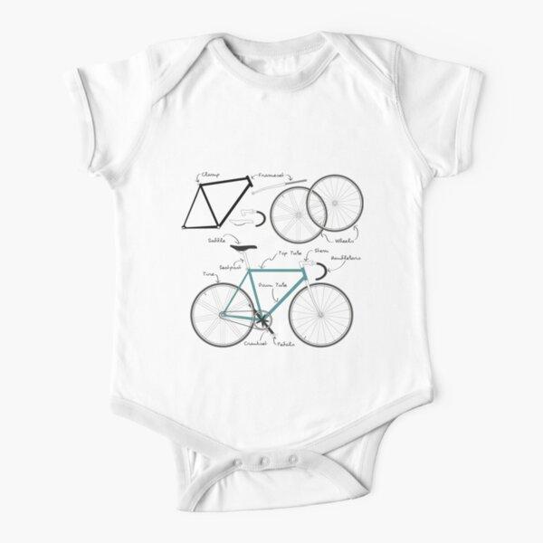 Fixie Bike anatomy Short Sleeve Baby One-Piece