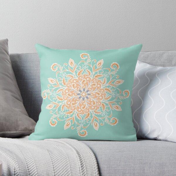 Eight Pointed Swirl Mandala (Cantaloupe Peach) Throw Pillow