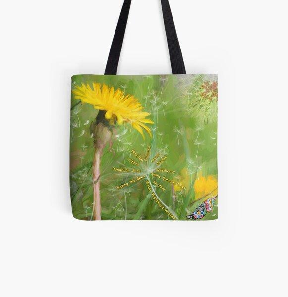 I Love Dandelions All Over Print Tote Bag