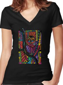 Psychedelic Color Owl on Patterns Women's Fitted V-Neck T-Shirt