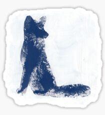 Navy Blue Finger Painted Arctic Fox Sticker