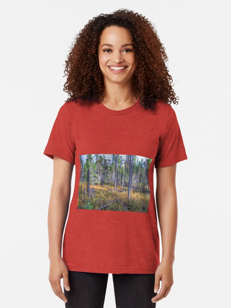 Alternate view of Pine trees in the marsh Tri-blend T-Shirt
