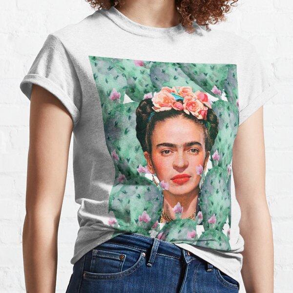 Frida Kahlo print, flowers, cactus, watercolor, color Classic T-Shirt