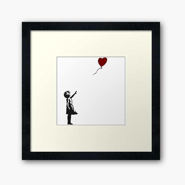 Banksy- Girl with Heart balloon.  Framed Art Print